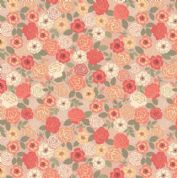 Lewis & Irene Flo's Wildflowers - 5431 - Wild Roses, Peach Shades on Beige - FLO9.3 - Cotton Fabric